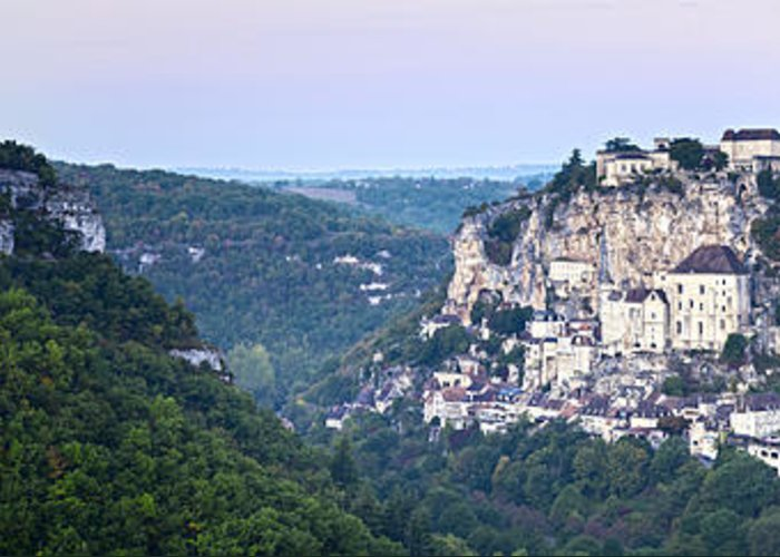 Dawn Greeting Card featuring the photograph Rocamadour Midi Pyrenees France Panorama by Colin and Linda McKie