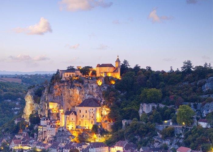 France Greeting Card featuring the photograph Rocamadour Midi-pyrenees France Twilight by Colin and Linda McKie