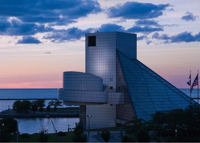 Rock And Roll Hall Of Fame Greeting Card featuring the photograph Rock And Roll Hall Of Fame by Dale Kincaid