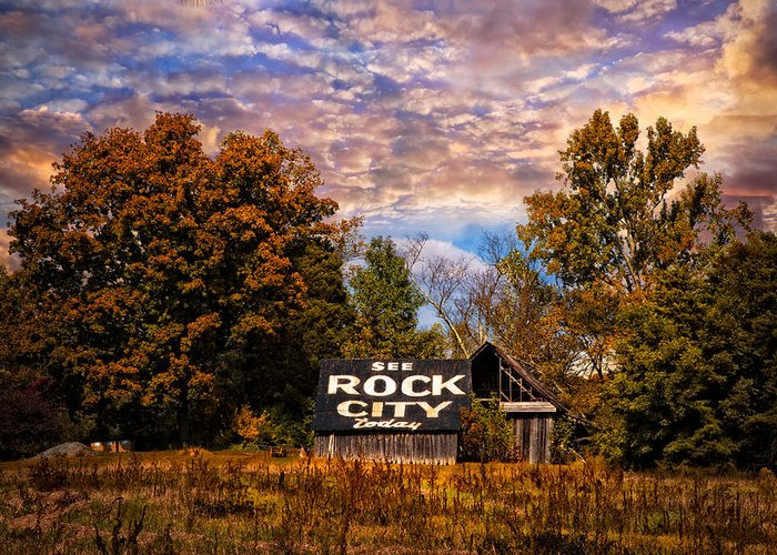 American Greeting Card featuring the photograph Rock City Barn by Debra and Dave Vanderlaan