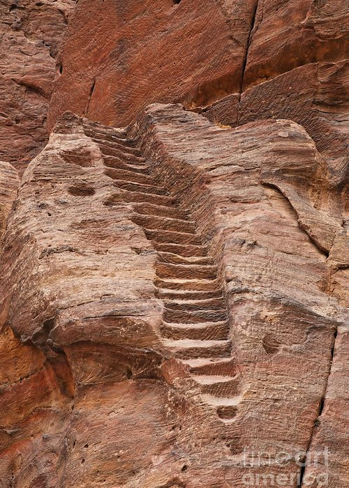 Steps Greeting Card featuring the photograph Rock Cut Stairway Of The Street Of Facades Petra Jordan by Robert Preston