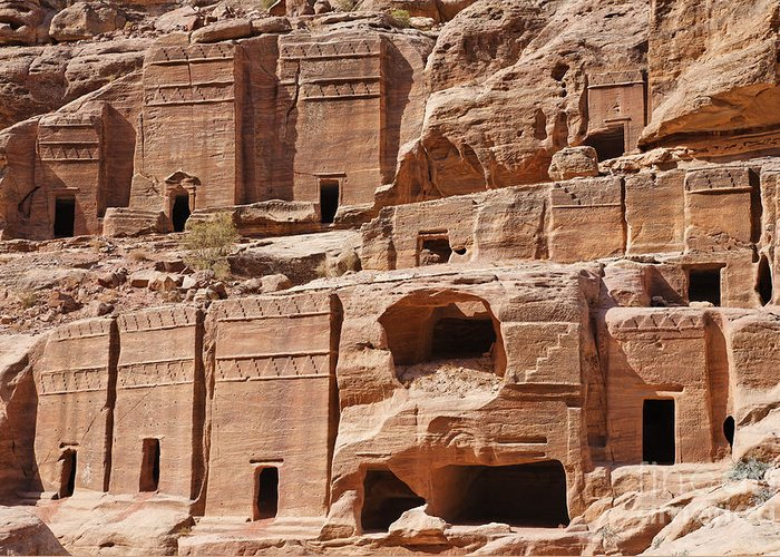 Rock Greeting Card featuring the photograph Rock Cut Tombs On The Street Of Facades Petra Jordan by Robert Preston