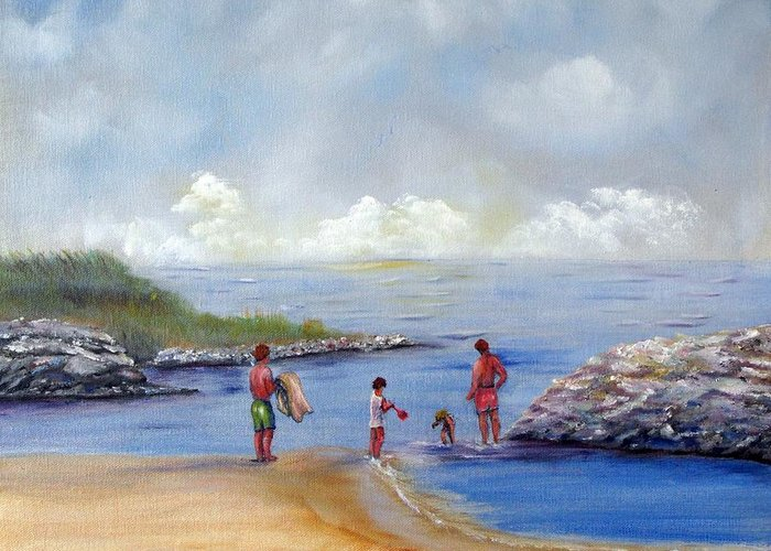 Rock Hall Greeting Card featuring the painting Rock Hall Beach by Loretta Luglio