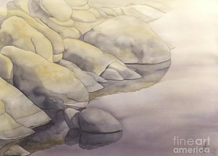 Watercolor Greeting Card featuring the painting Rock Meets Water by Robert Hooper