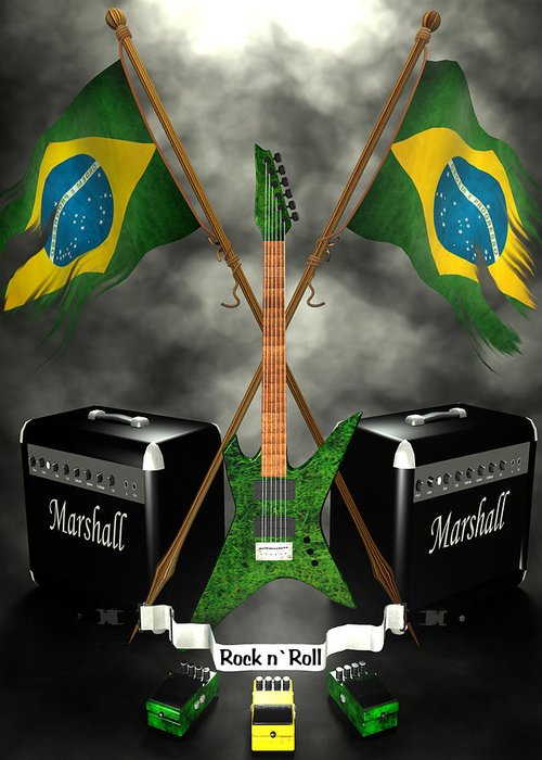 Rock N Roll Greeting Card featuring the digital art Rock N Roll Crest - Brazil by Frederico Borges