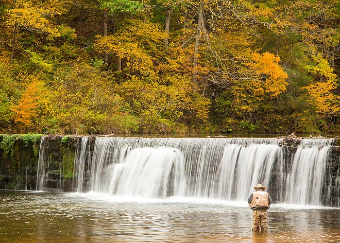 Made In America Greeting Card featuring the photograph Rockbridge Fisherman by Steven Bateson