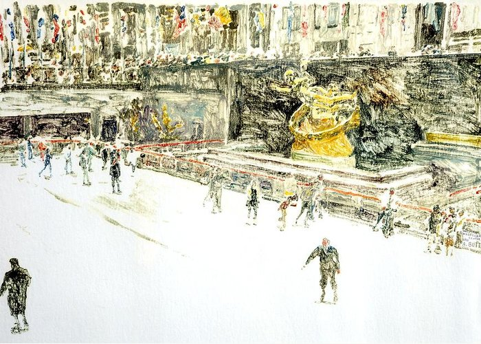 Centre Greeting Card featuring the painting Rockefeller Center Skaters by Anthony Butera