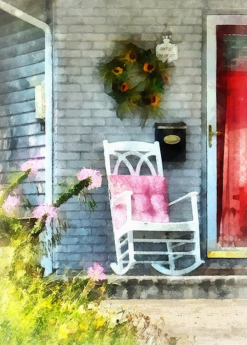 Rocking Chair Greeting Card featuring the photograph Rocking Chair With Pink Pillow by Susan Savad