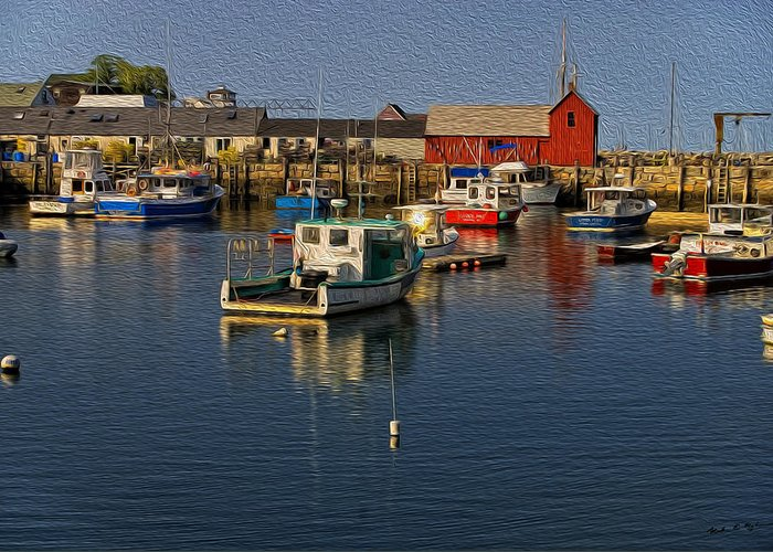 Atlantic Ocean Greeting Card featuring the photograph Rockport Harbor No.3 by Mark Myhaver