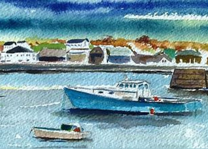 Rockport Greeting Card featuring the painting Rockport Harbor by Scott Nelson