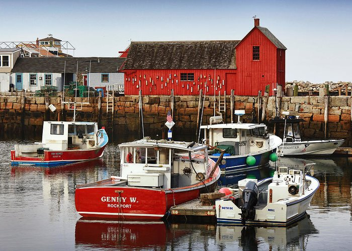 Rockport Greeting Card featuring the photograph Rockport Ma by Christian Anderson
