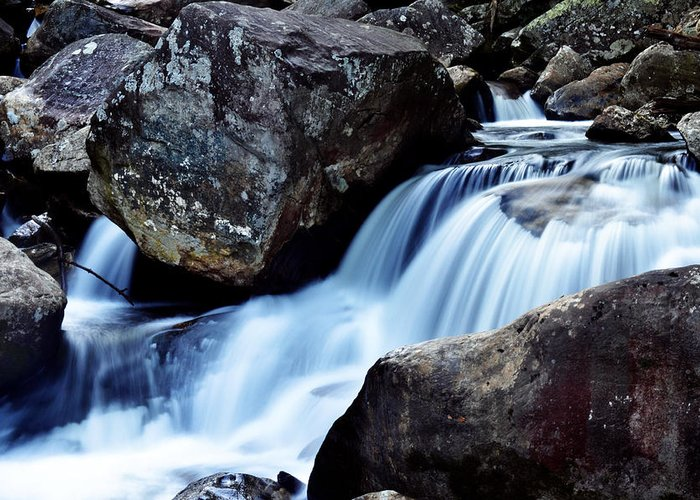 Waterfall Greeting Card featuring the photograph Rocks And Waterfall by Adam LeCroy