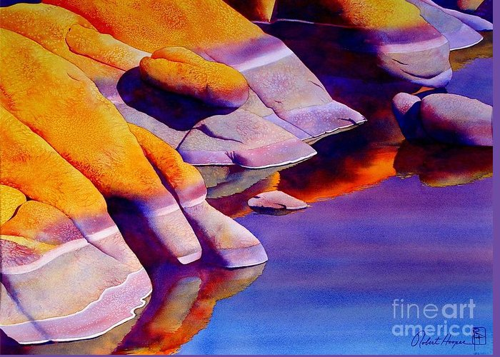Watercolor Greeting Card featuring the painting Rocks At Watson Lake by Robert Hooper