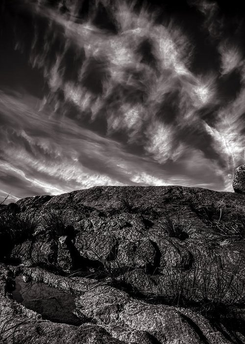 Nature Greeting Card featuring the photograph Rocks Clouds Water by Bob Orsillo
