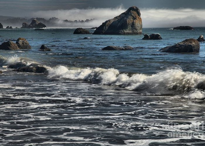 Trinidad Beach Greeting Card featuring the photograph Rocks In The Surf by Adam Jewell