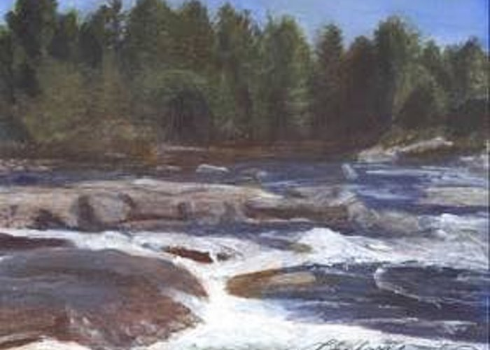 Rocks Greeting Card featuring the painting Rocks by Sheila Mashaw