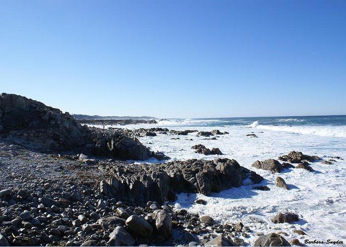 Sea Foam Greeting Card featuring the digital art Rocky Beach by Barbara Snyder