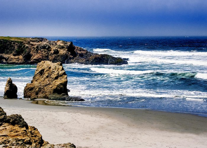 Ocean Greeting Card featuring the photograph Rocky Beach Blue Mendocino by William Havle