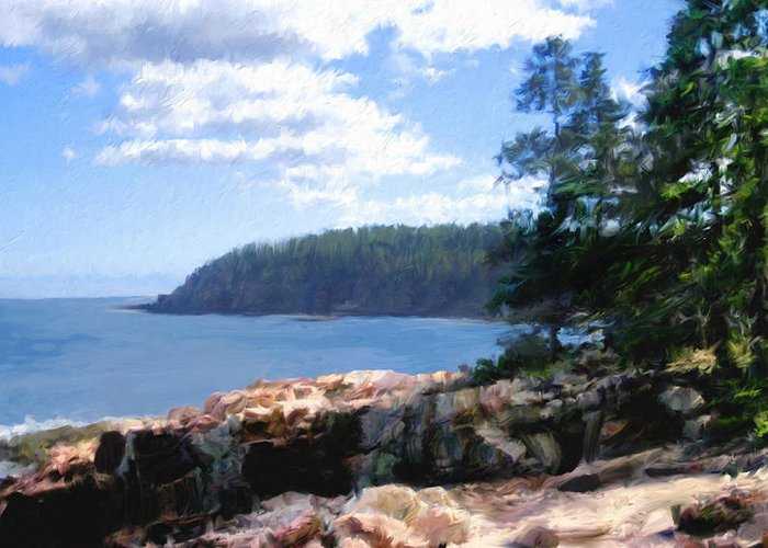 Maine Shore Digital Art Greeting Cards
