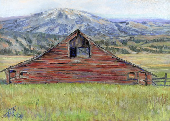 Red Barn Greeting Card featuring the painting Rocky Mountain Barn by Billie Colson
