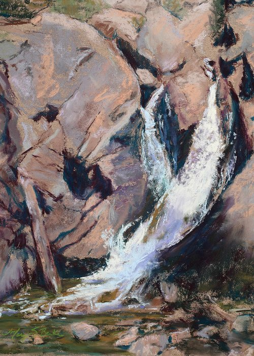 Waterfall Greeting Card featuring the painting Rocky Mountain Cascade by Mary Benke
