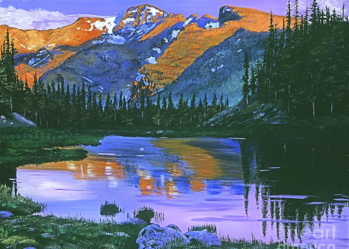 Mountain Greeting Card featuring the painting Rocky Mountain Lake by David Lloyd Glover