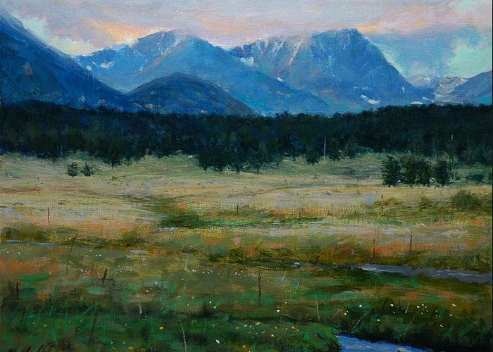 Landscape Greeting Card featuring the painting Rocky Mountain National Park by Greg Clibon