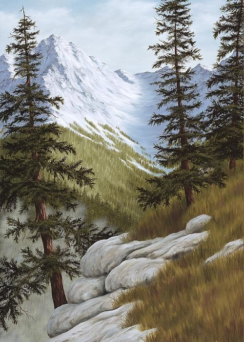 Landscape Greeting Card featuring the painting Rocky Mountain Solitude by Rick Bainbridge