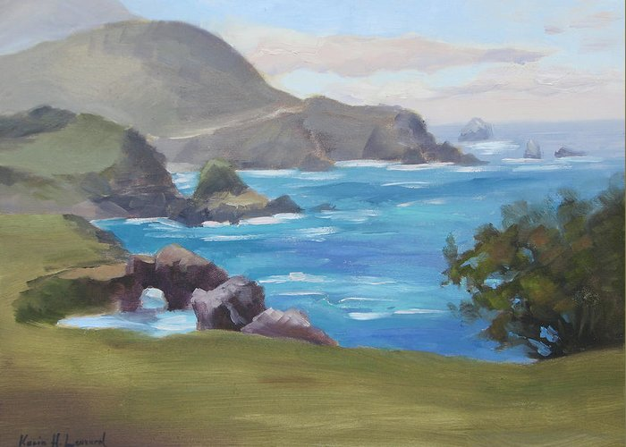 Big Sur Greeting Card featuring the painting Rocky Point Big Sur by Karin Leonard