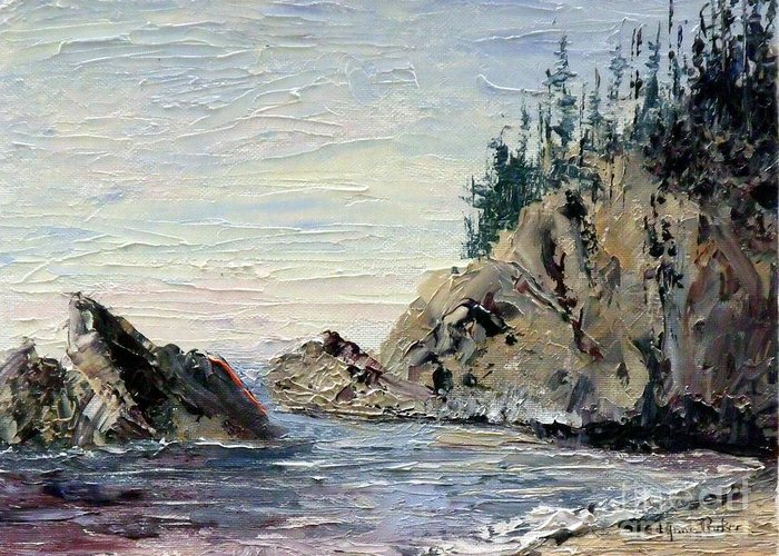 Seascape Greeting Card featuring the painting Rocky Shore by Lynne Parker