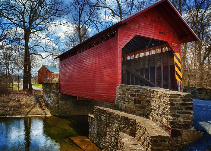Joan Carroll Greeting Card featuring the photograph Roddy Road Covered Bridge by Joan Carroll
