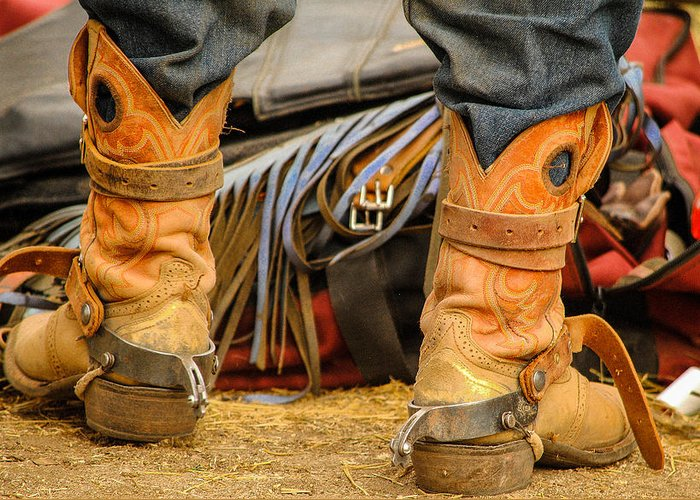 Boot Greeting Card featuring the photograph Rodeo Cowboy Tools Of The Trade by Miki Finn