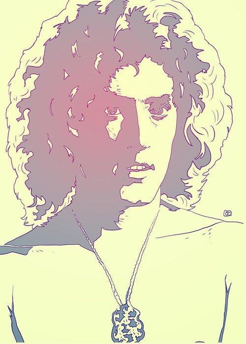 The Who Greeting Card featuring the drawing Roger Daltrey by Giuseppe Cristiano