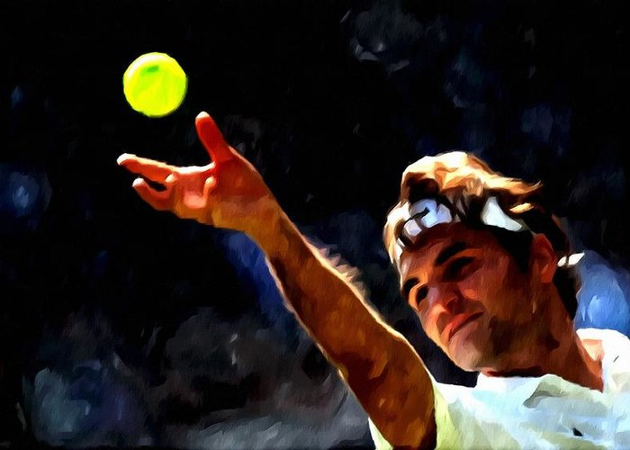 Roger Federer Tennis 1 Greeting Card featuring the painting Roger Federer Tennis 1 by Lanjee Chee