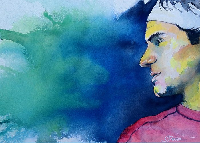 Roger Federer Greeting Card featuring the painting Roger by Scott Parker