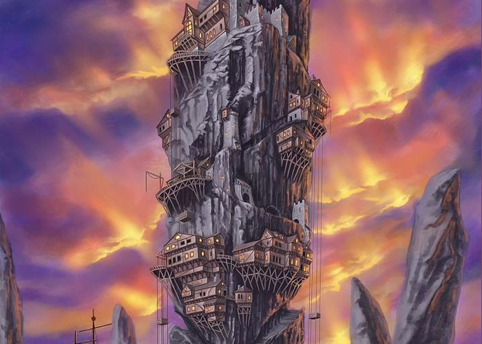 Fantasy Greeting Card featuring the digital art Rogue Haven by Bryan Syme