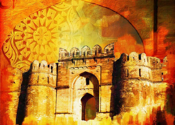 Pakistan Greeting Card featuring the painting Rohtas Fort 00 by Catf