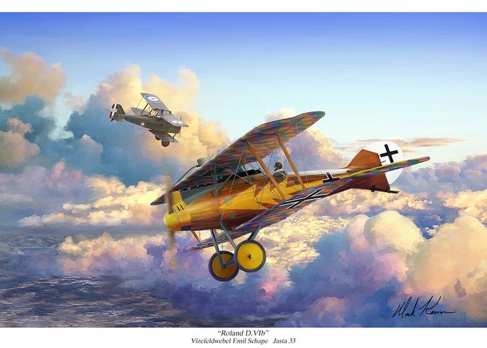 Roland D.vi Greeting Card featuring the painting Roland D.VIb by Mark Karvon