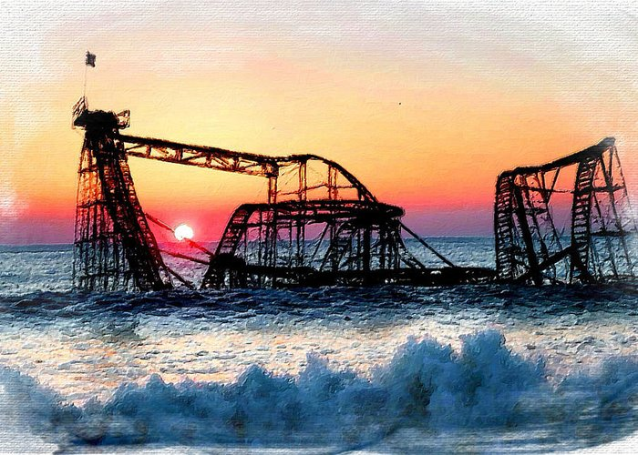 Painting Greeting Card featuring the painting Roller Coaster After Sandy by Tony Rubino