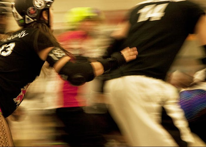 Sports Greeting Card featuring the photograph Roller Derby by Theresa Tahara