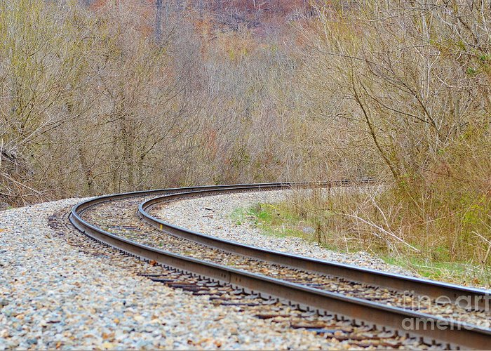 Tracks Greeting Card featuring the photograph Rolling Down The Line by Brenda Dorman