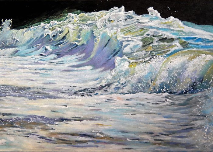 Wave Greeting Card featuring the painting Rolling On by Arie Van der Wijst