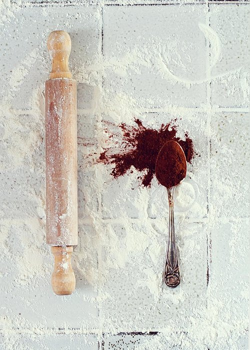 Rolling Pin Greeting Card featuring the photograph Rolling Pin, Teaspoon, Flour And Cocoa by One Girl In The Kitchen