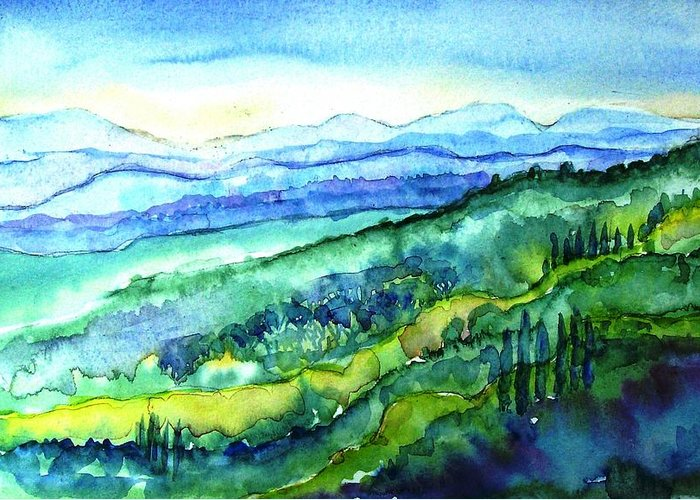 Tuscany Greeting Card featuring the painting Rolling Tuscan Landscape by Trudi Doyle
