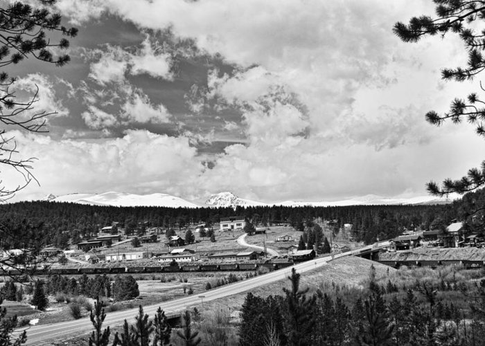 Rollinsville Is A Census-designated Place And A U.s. Post Office Located In Gilpin County Greeting Card featuring the photograph Rollinsville Colorado Small Town 181 In Black And White by James BO Insogna