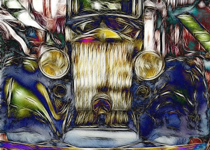 Rolls Royce Greeting Card featuring the digital art Rolls by Devalyn Marshall