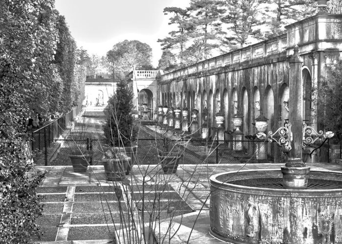 Roman Greeting Card featuring the photograph Roman Gardens In The Fall - Bw by Lou Ford