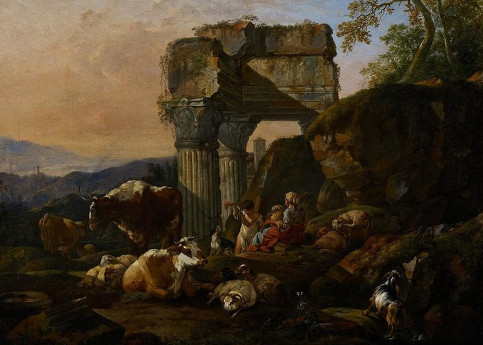 Roman Greeting Card featuring the painting Roman Landscape With Cattle And Shepherds by Johann Heinrich Roos