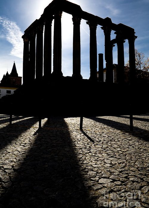 Roman Temple Greeting Card featuring the photograph Roman Temple Silhouette by Jose Elias - Sofia Pereira