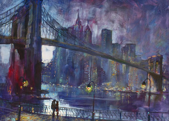 Brooklyn Bridge Greeting Card featuring the painting Romance By East River Nyc by Ylli Haruni